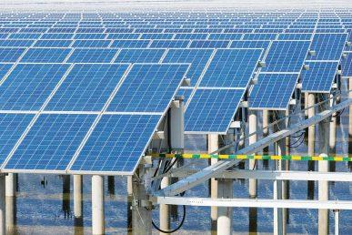 Solar field image. Renewable energy finance development